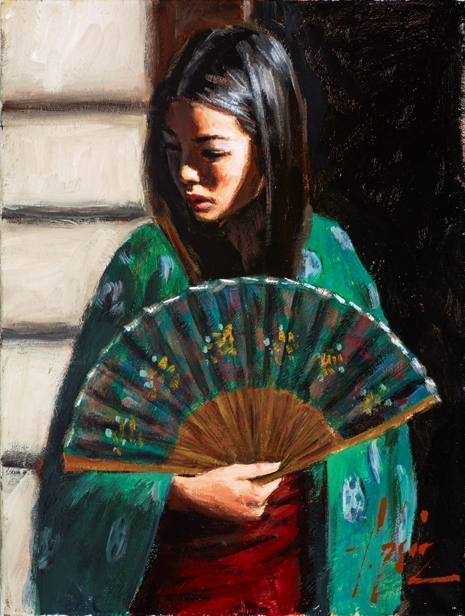 Study for Geisha with Fan (Green Kimono) by Fabian Perez -  sized 12x16 inches. Available from Whitewall Galleries